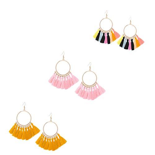Qingell Rattan Tassel Earrings for Women Bohemian Statement Handmade Woven Drop Dangle Earrings 4pcs
