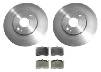 Front Brake Rotor & Metallic Pad Kit for Escort Tracer MX-3 ZX2 Protege ()