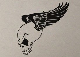 uBer Decals Vinyl Wall Decal Sticker Skull w Wings 576 54x51 inches