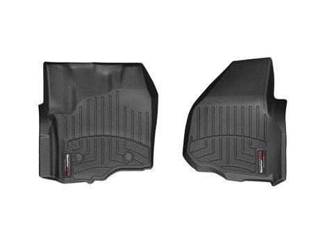 F350/F450/F550 Super Duty (Raised Forward-Left Corner / Automatic Transmission) Front Set - WeatherTech Custom Floor Mats Liners - Black (Ford F350 Super Duty Corner)