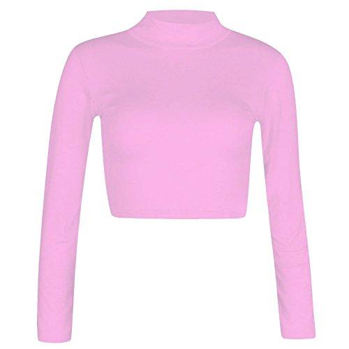 Janisramone cuello del polo mujeres tortuga manga larga blusa entallada t camisa tamaño 8-14 BEBÉ ROSA