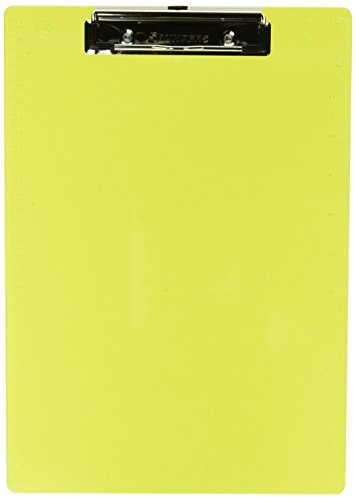 Saunders Plastic Clipboard with Low Profile Clip, Neon Yellow, Letter Size, 8.5 inch x 12 inch, 1 Clipboard (21595)