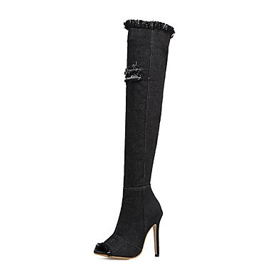Women's Shoes Fabric Spring Fall Winter Basic Pump Comfort Novelty Boots Stiletto Heel Lace-up For Wedding Casual Office & Career Party & Black tygdf