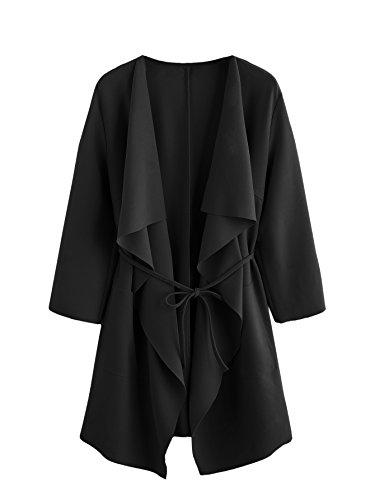 Romwe Women's Raw Cut Hem Waterfall Collar Long Sleeve Wrap Trench Coat Cardigan Black L by Romwe