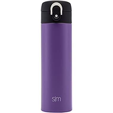 Simple Modern 16oz Vacuum Insulated Kona Travel Mug - Stainless Steel Tea Coffee Cup - Powder Coated Hot Cold Thermos - Canteen Water Bottle - Lilac Purple
