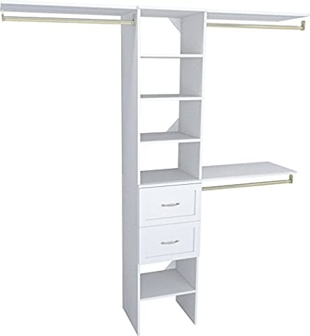 ClosetMaid 1952040 SuiteSymphony 16-Inch Closet Organizer with Shelves and 2-Drawers, Pure White