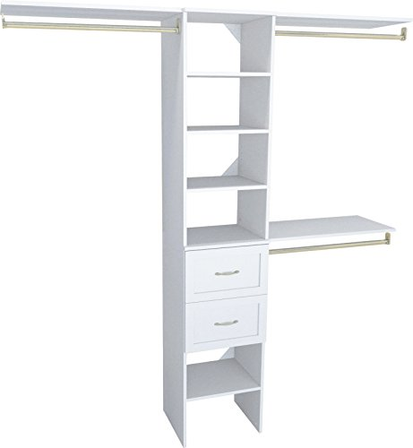 ClosetMaid SuiteSymphony Closet Organizer with Shelves and 2 Drawers, 16-Inch-Pure White (Closet Wire Kits Organizer)