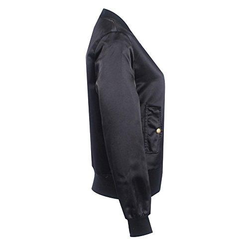 Raso Nero Hibote Caffè Rosa Casual Outwear Cappotto Nero Cardigan Parka Donne Giacca Slim Moto Top Giacche Elegante Bomber Per Corto 1S8BRw