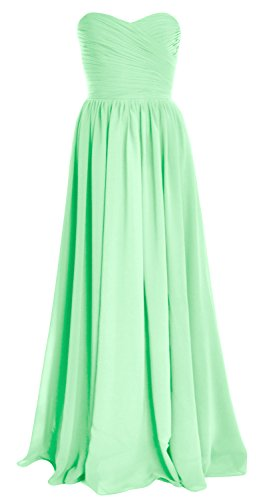 MACloth Women Strapless Chiffon Long Bridesmaid Dress Wedding Party Evening Gown (26w, Mint)