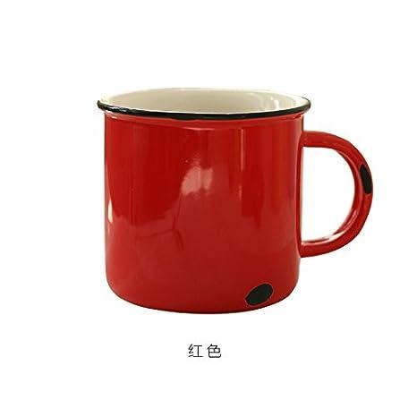 WJIANLL Hacer la vieja taza de cerámica de cerámica de imitación de esmalte taza de café rojo taza de té taza de color, rojo: Amazon.es: Hogar