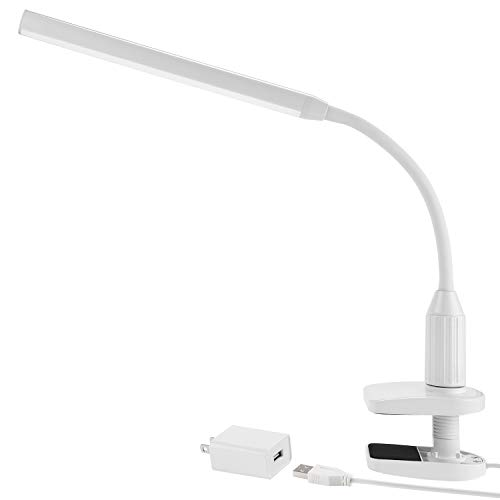 TORCHSTAR 24 LEDs Dimmable Flexible Gooseneck Clamp Desk Lamp Eye-Care Touch Sensitive 5W Light, Memory Function, USB Charger + Power Adapter, 50000 hours Lifespan & 2 Years Warranty (White)