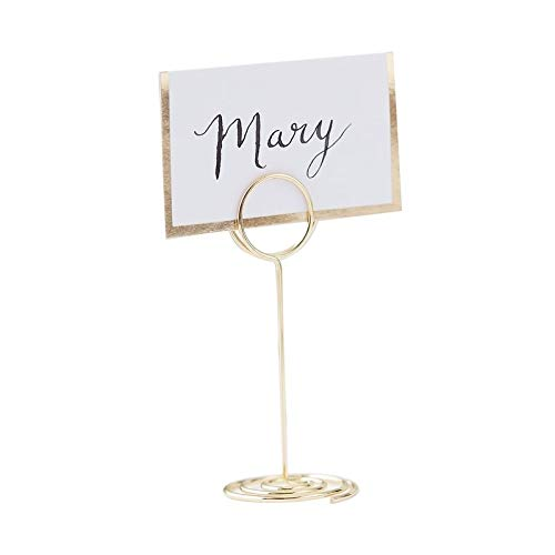 """Ginger Ray Gold Place Card Holders & Wedding Place Cards Wedding Table Decorations Wedding Supplies Table Place Cards 3.5"""" x 1.2"""", Set of 8"""