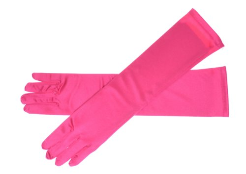 ch Gloves Above Elbow Bridal Prom Wedding Formal 9 Colors (Hot Pink) (16 Inch Satin Gloves)
