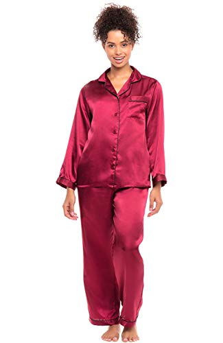Alexander Del Rossa Women's Button Down Satin Pajama Set with Sleep Mask, Long Silky Pjs, Large Burgundy with Black Piping (A0750BGPLG)