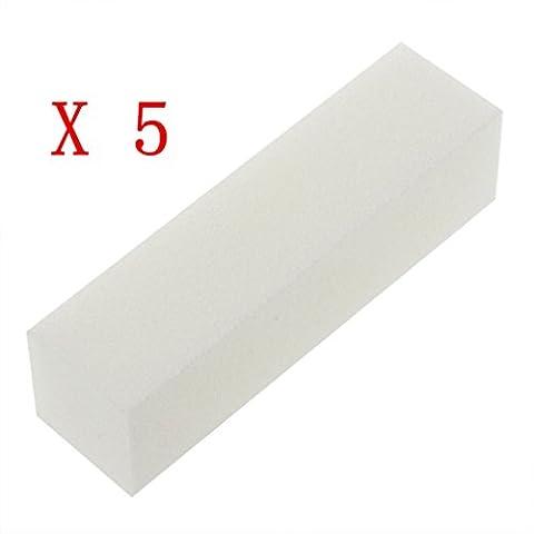 Supersaving360 Nail Art Buffer Buffing Sanding Nail Block File Pedicure Manicure Tool White(Pack of 5)