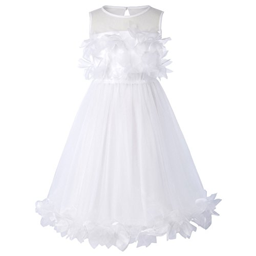 Ygosoon Ruffles Tulle Flower Girl Dresses 2018 Sleeveless O Neck Princess Dress for Wedding Birthday Party Ball Grow (Princess Leia Wedding Dress)