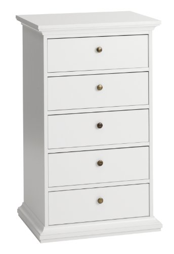 Tvilum Sonoma 5-Drawer Chest, White