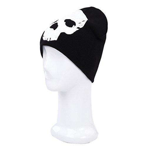 Premium Cotton Blend Glow in the Dark Skull Beanie Cap Hat, Black