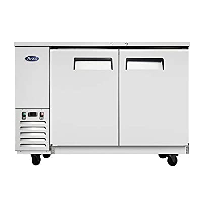 Commercial Bar Back Refrigerators, ATOSA Counter Height 2 Doors Beer Beverage Cooler with LED Lighting, 17.3 Cu.Ft. MBB59
