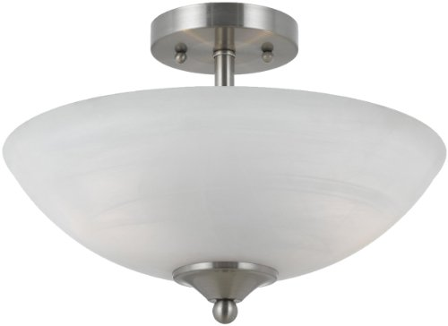 (Triarch 33291 2 Light Value Semi Flush Ceiling Light, Satin)