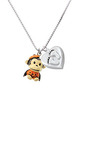 [Resin Monkey in Pumpkin Costume Custom Engraved Baby Feet Heart Locket Necklace] (Custom Made Infant Halloween Costumes)