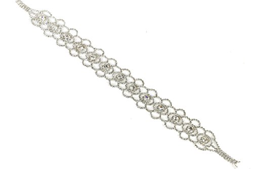 Lux Accessories Lux Bridal Pave and Crystal Embroidered