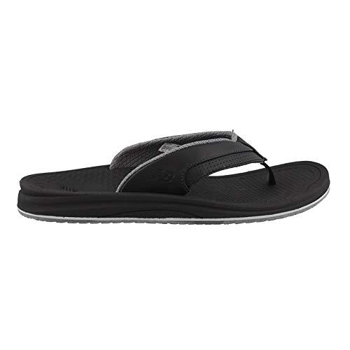 New Balance Men's Recharge Thong Sandal, Black/Grey, 12 D US