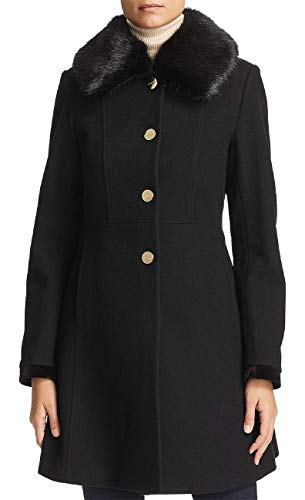 Laundry by Shelli Segal Faux Fur Collar Lace-Up Back Coat Black (M)