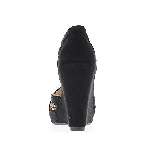 Zeppa tacco in camoscio di sandali beige aspetto donna 10cm con piattaforma tela aspetto di 3cm