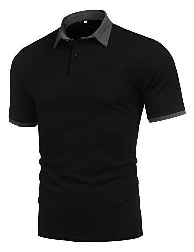(poriff Men's Fashion Contrast Collar Golf Polo Shirts Casual Short Sleeve Slim Fit T-Shirt Black M )