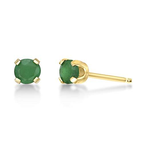 (.54 CT Round 4MM Green Emerald 14K Yellow Gold Stud Birthstone)