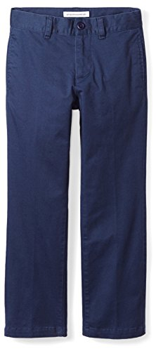 Amazon Essentials Toddler Boys' Straight Leg Flat Front Uniform Chino Pant, Washed Navy, 2T