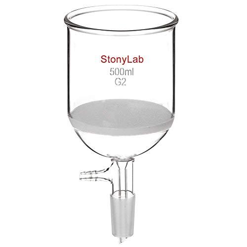 StonyLab Borosilicate Glass Buchner Filtering Funnel 500 mL with Medium Frit, 94mm Inner-Diameter, 100mm Depth, with 24/40 Standard Taper Inner Joint and Vacuum Serrated Tubulation (500 mL)