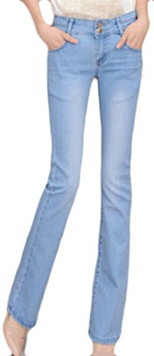 Fulok Womens Casual Faded High Waist Bell Flare Leg Boot Cut Pants Jeans Light Blue (Faded Flare Jeans)