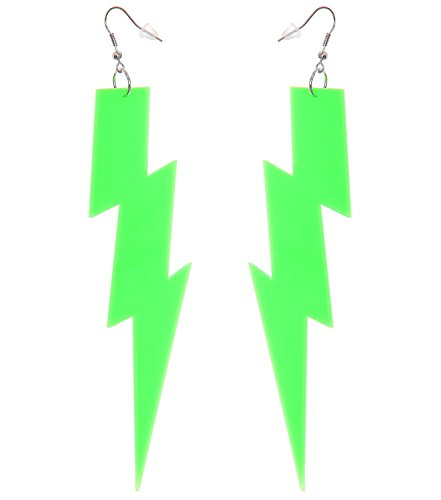 Neon Green Lightning Bolt Earrings - other styles and colors available