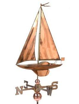 (East Coast Weathervanes and Cupolas Sailboat Weathervane Polished Copper)