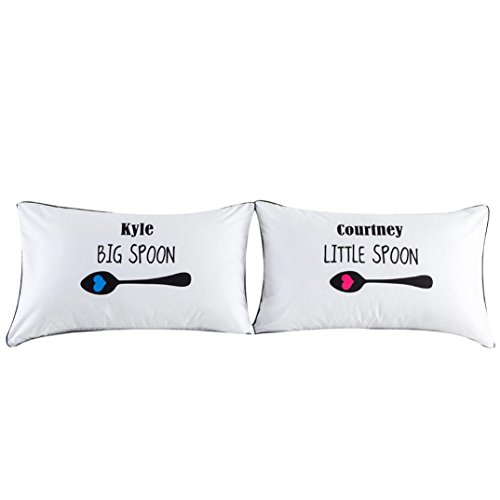 - Amiley Set of 2 Couples Pillow Cases Letters Printed Pillowcases Bedding Wedding Anniversary Romantic Gift (C)