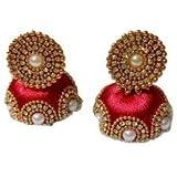 Red Designed Shine Silk Thread Earrings (F3)