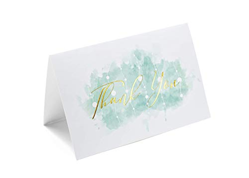 Thank You Cards Set of 100, Gold & Rose Gold Foil Letterpress on Blue Watercolor Backdrop – 4x6 Folded Blank Cards, Envelopes Plus Stickers – Perfect for Baby/Bridal Showers, and -