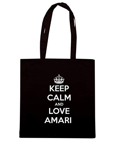 Borsa Shopper Nera TKC1397 KEEP CALM AND LOVE AMARI