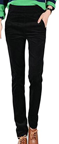 Pandapang Womens Casual Tapered Corduroy Elastic Waist Pocket Pencil Pants Black Large Floral Corduroy Pants