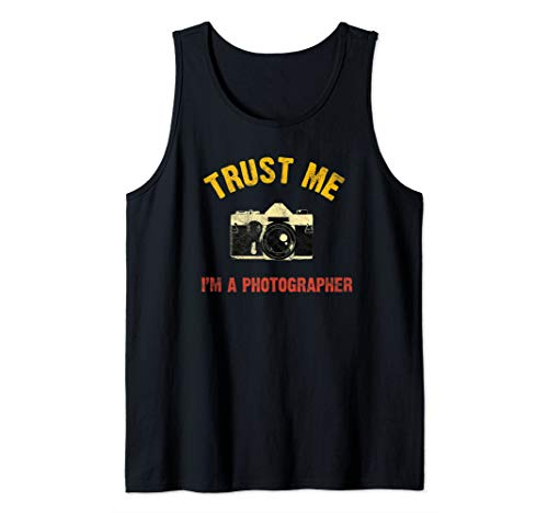 Vintage Trust Me I'm Photographer DSLR Camera Lens Analog Tank Top