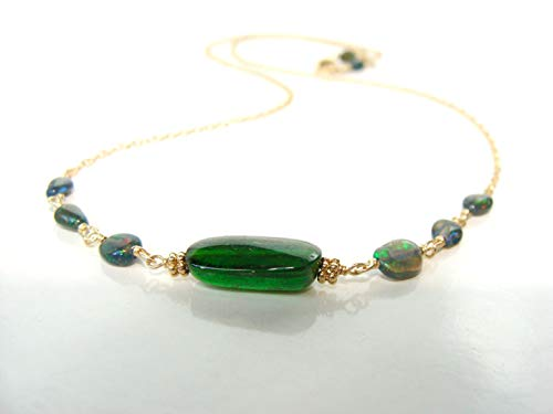 Chrome diopside black opal 14kt gold necklace, 17.25 inches, genuine stones solid gold, gorgeous dainty everyday jewelry, original handmade Let Loose Jewelry