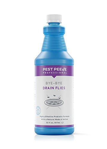 Bye-Bye Drain Flies — Premium, Natural, Scum-Eating, Odor Eliminating Drain Fly Killer Treatment — Professional Strength, Safe and Eco-Friendly Sweet Grape Scented — US Made, 1 Quart / 32 fl. oz
