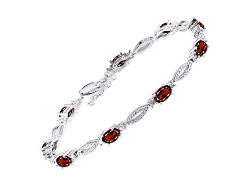 (Stunning Garnet & Diamond Tennis Bracelet Set in Sterling Silver - Adjustable to fit 7