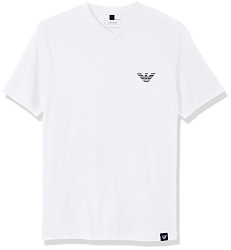 ARMANI JEANS Men's Side Logo T-Shirt, White, Large by ARMANI JEANS