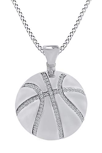 Round White Natural Diamond Basketball Pendant Necklace 14k White Gold Over Sterling Silver (0.55 Cttw) ()