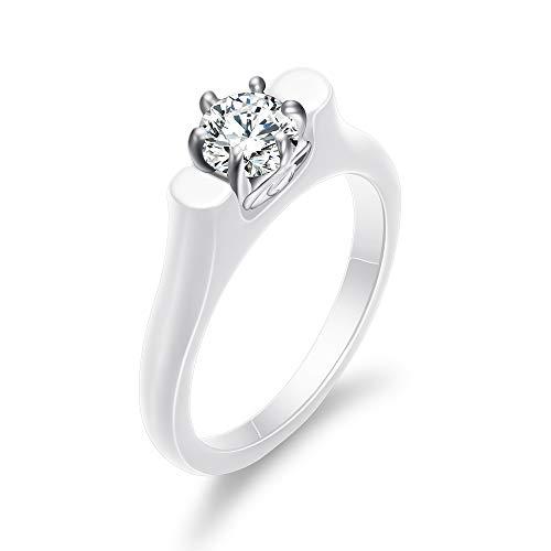 (VQYSKO Unique Design Bride Ceramic Ring Cubic Zirconia Rings for Womens (W8))