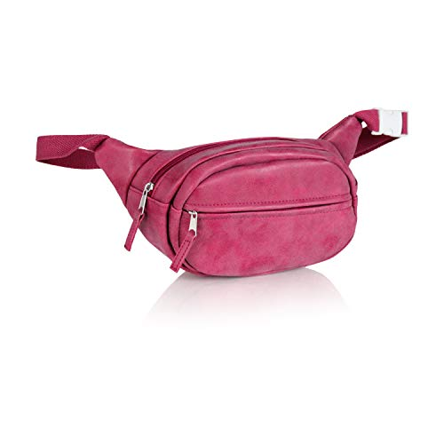 Large Fanny Waist Pack- Festival Belt Bag- Adjustable Vegan Leather Shoulder Daypack Purse (Raspberry Fuschia Pink Vegan Suede)