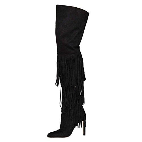 38 38 Europee pompa pompa camoscio in 45W nero mano BLACK ginocchio con donne frange stivali q7Awaq5